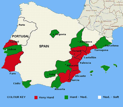 Hradness map of Spain& Portugal