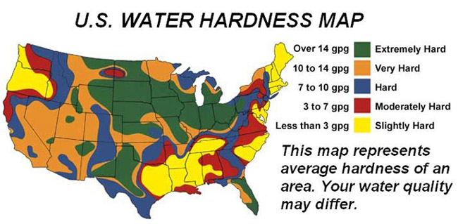 Water Hardness map of USA